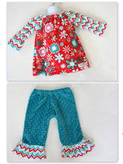 Cuddle Bouquet Peasant Dress and Ruffle Pants