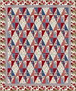 Red and Blue...and Roses, Too! Diamonds Quilt